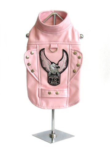 pink dog motorcycle jacket